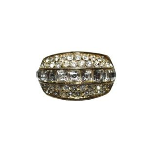 Christian Dior 18 kt Gold Plated Rhinestone Pave R
